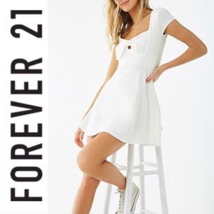 Forever 21 White Tie-Front Cutout Mini Dress Small
